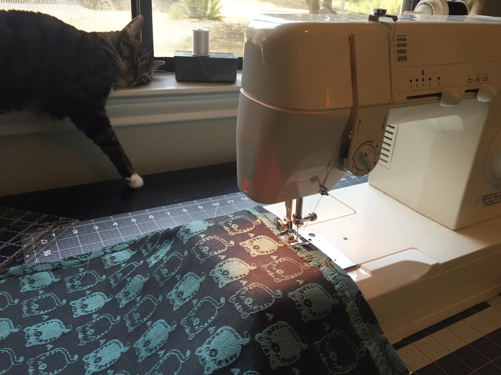 Sewing the Hem, with supervision